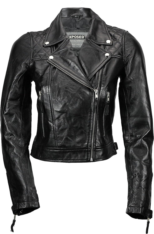 Xposed - Chaqueta de piel auténtica para mujer (cierre suave), color negro y rojo