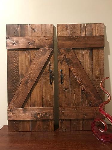 amazon com z bar farmhouse barn door wooden window shutters set