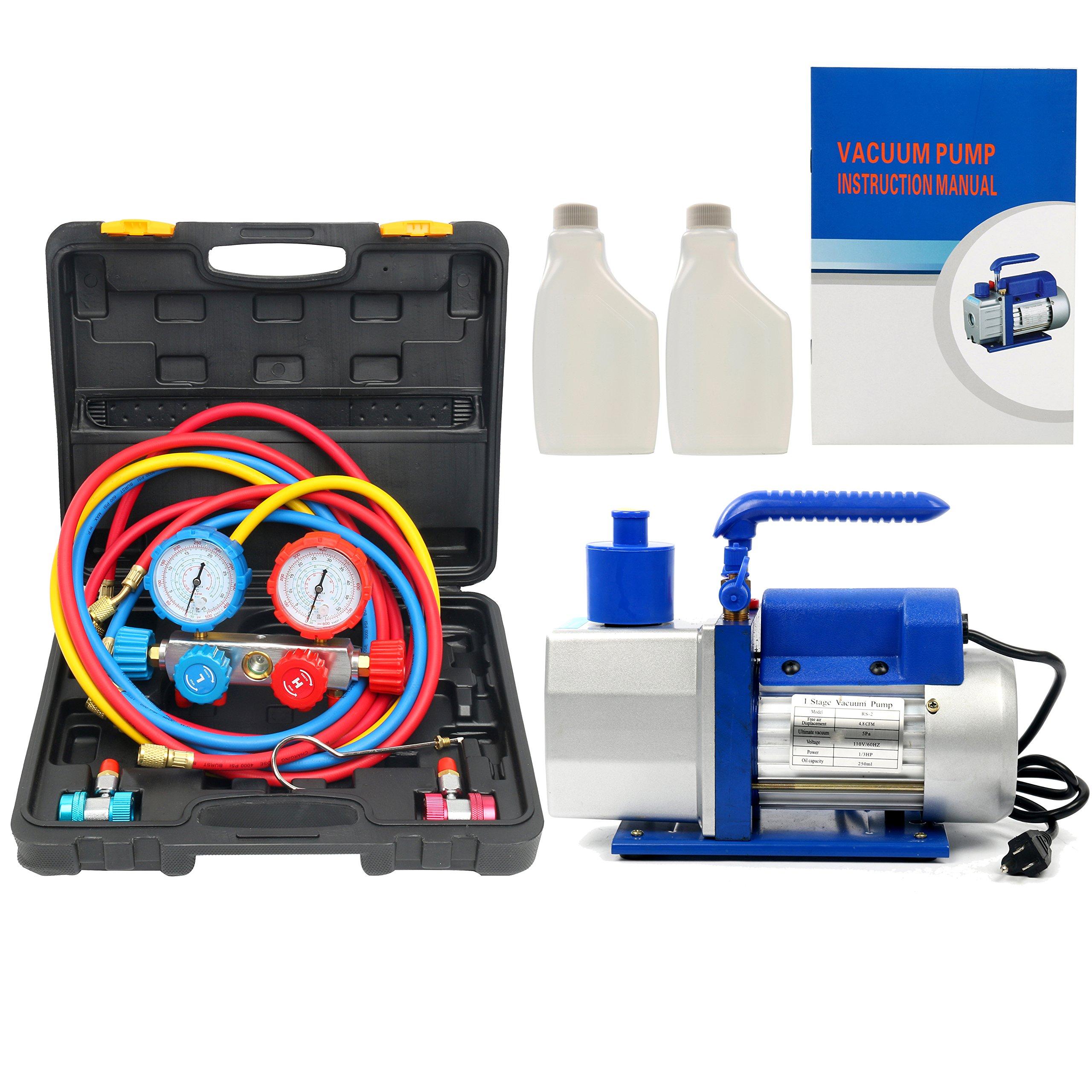 Yaetek R410A R134A R22 4.8 CFM 1/3HP Air Vacuum Pump HVAC A/C Refrigerant Rotary Vane Vacuum Pump Single Stage W/ 4 Hoses 4 VALVE MANIFOLD GAUGE Set