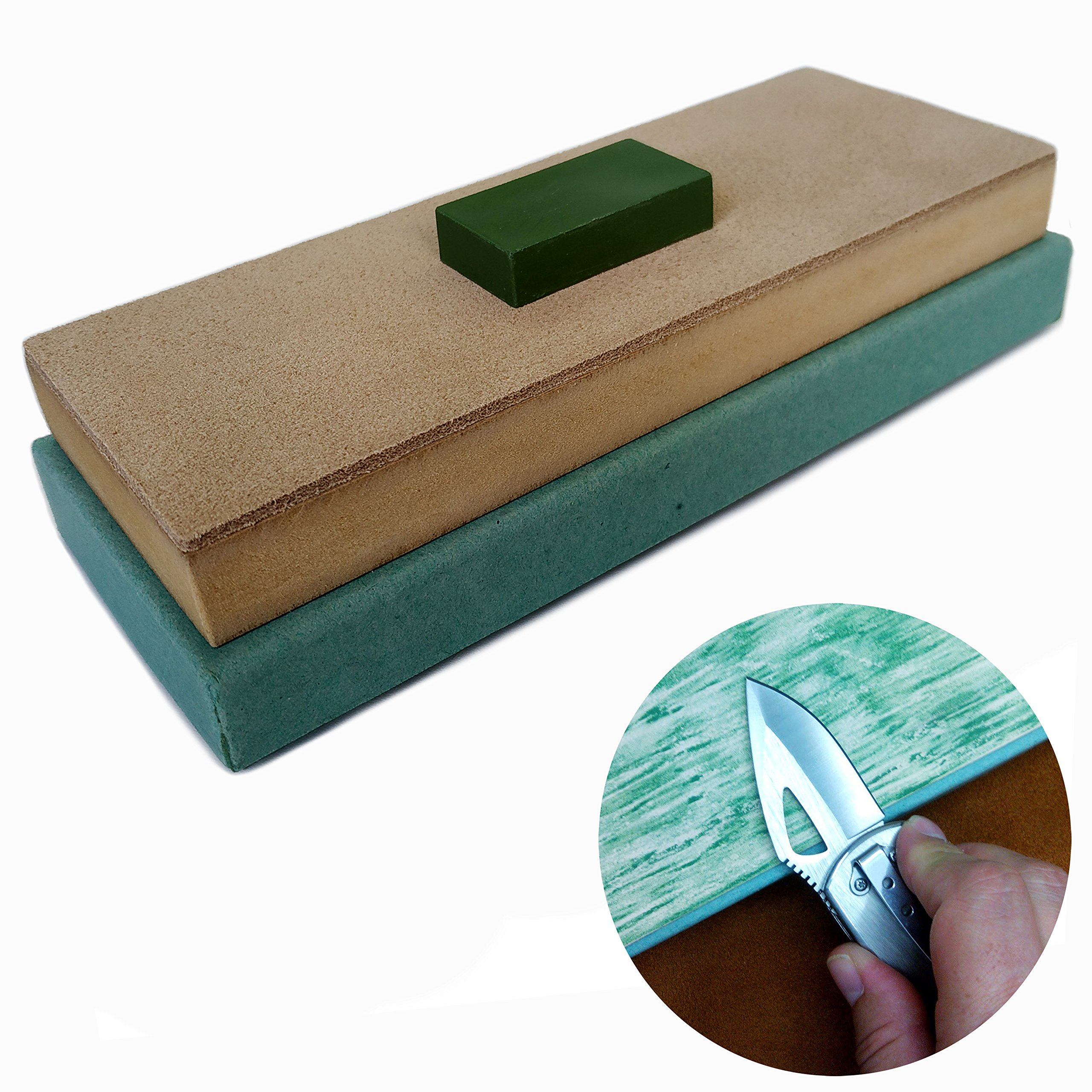 Hestya 3 Pieces Leather Strop with Compounds Kit 1 Piece Leather Honing Strop 2