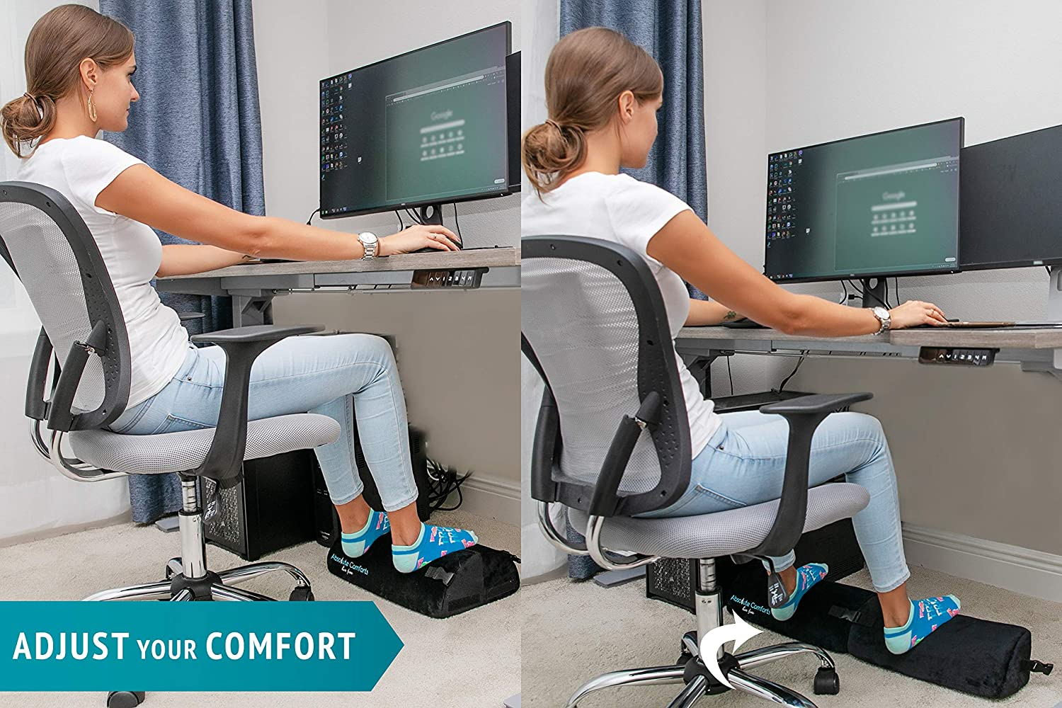 New 2X Adjustable Length – Foot Rest Under Desk Multi-Functional Ergonomic Footrest Design for Office Home – Resilient Foam Cushion with Anti-Slip Bottom Foot Stool Rocker for Absolute Comfort