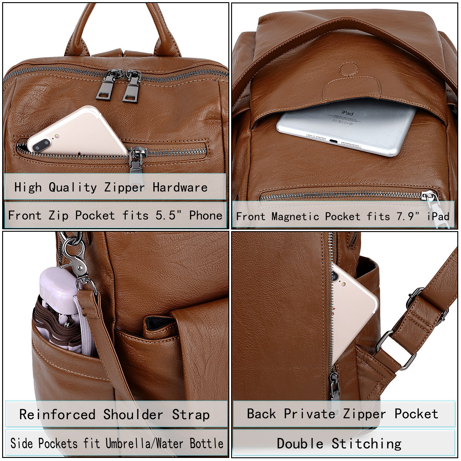 UTO Women Backpack Purse PU Washed Leather Ladies Rucksack Detachable Crossbody Shoulder Bag B Brown by UTO (Image #4)