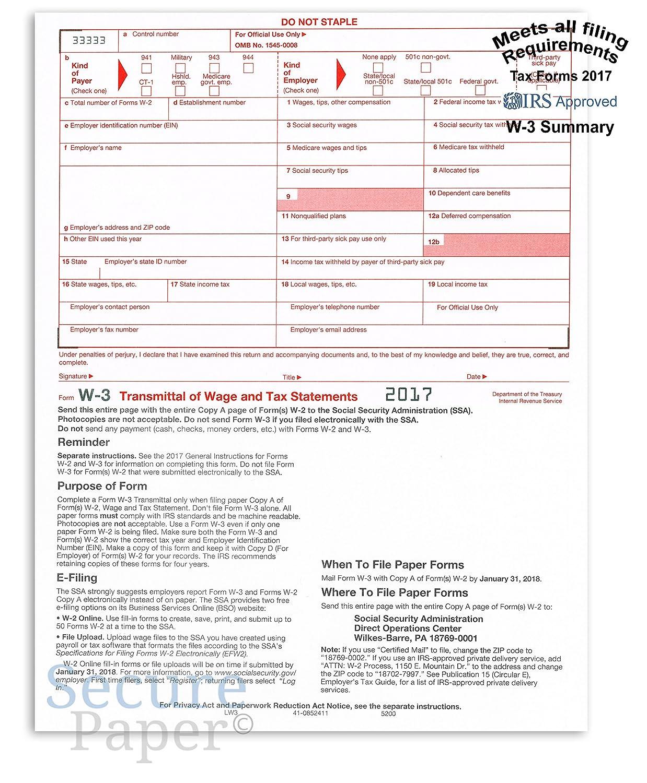 Amazon.com : W-3 Laser Tax Summary/ Transmittal Form -2017- IRS ...