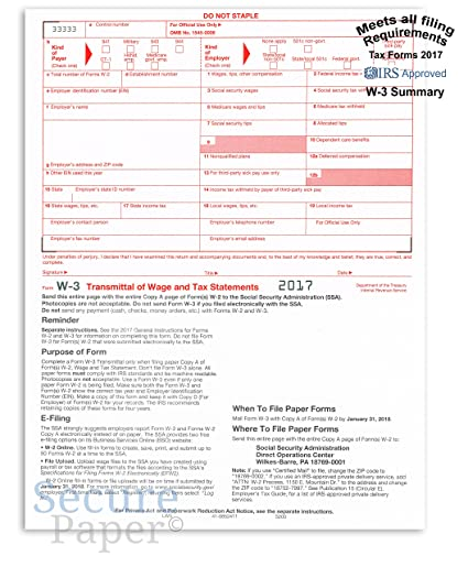 Amazon W 3 Laser Tax Summary Transmittal Form 2017 Irs