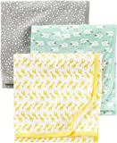 Simple Joys by Carter's Baby 3-Pack Cotton Swaddle Blanket, Grey/White/Mint, One Size