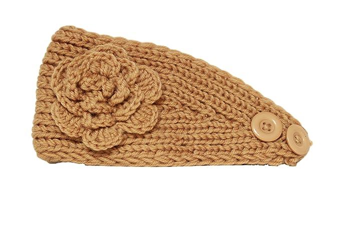 Ethnicity Women s   Teen Girl   Toddler Knit Flower Head Wrap Ear Warmer  Headband (Beige 19fc13c9be9