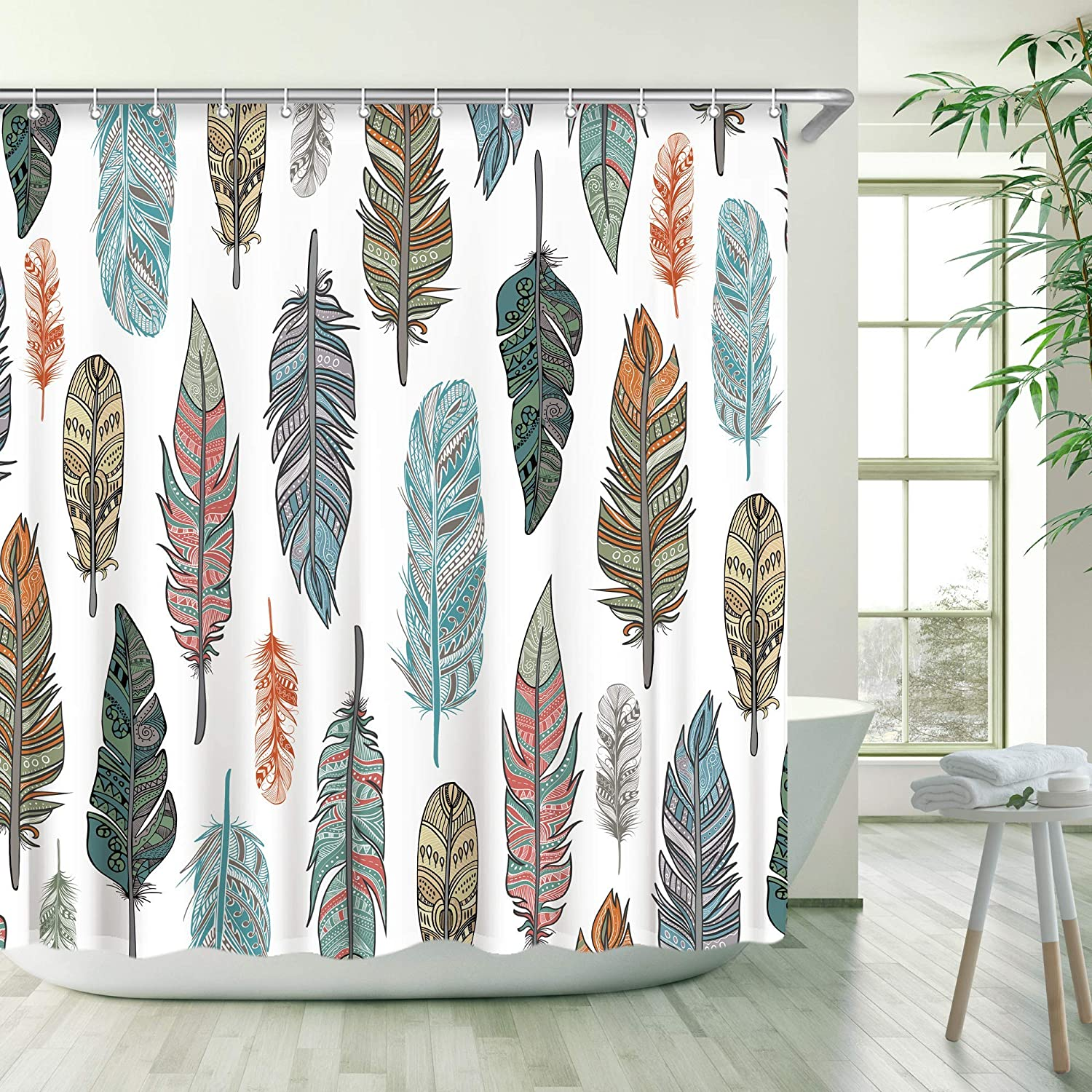 Stacy Fay Bird Feather Shower Curtain Animal Feather Shower Curtain Bird Shower Curtain with Hooks Colorful Feather Shower Curtain Bathroom Bird Feather
