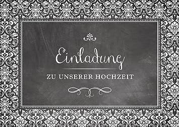 U0026quot;Einladung Zu Unserer Hochzeitu0026quot; Einladungskarte Zur Hochzeit In  Schwarz/ Anthrazit Im U0026quot