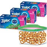 Ziploc Snack and Sandwich Bags for On the Go Freshness, Grip 'n Seal Technology for Easier Grip, Open, and Close, 90 Count, P