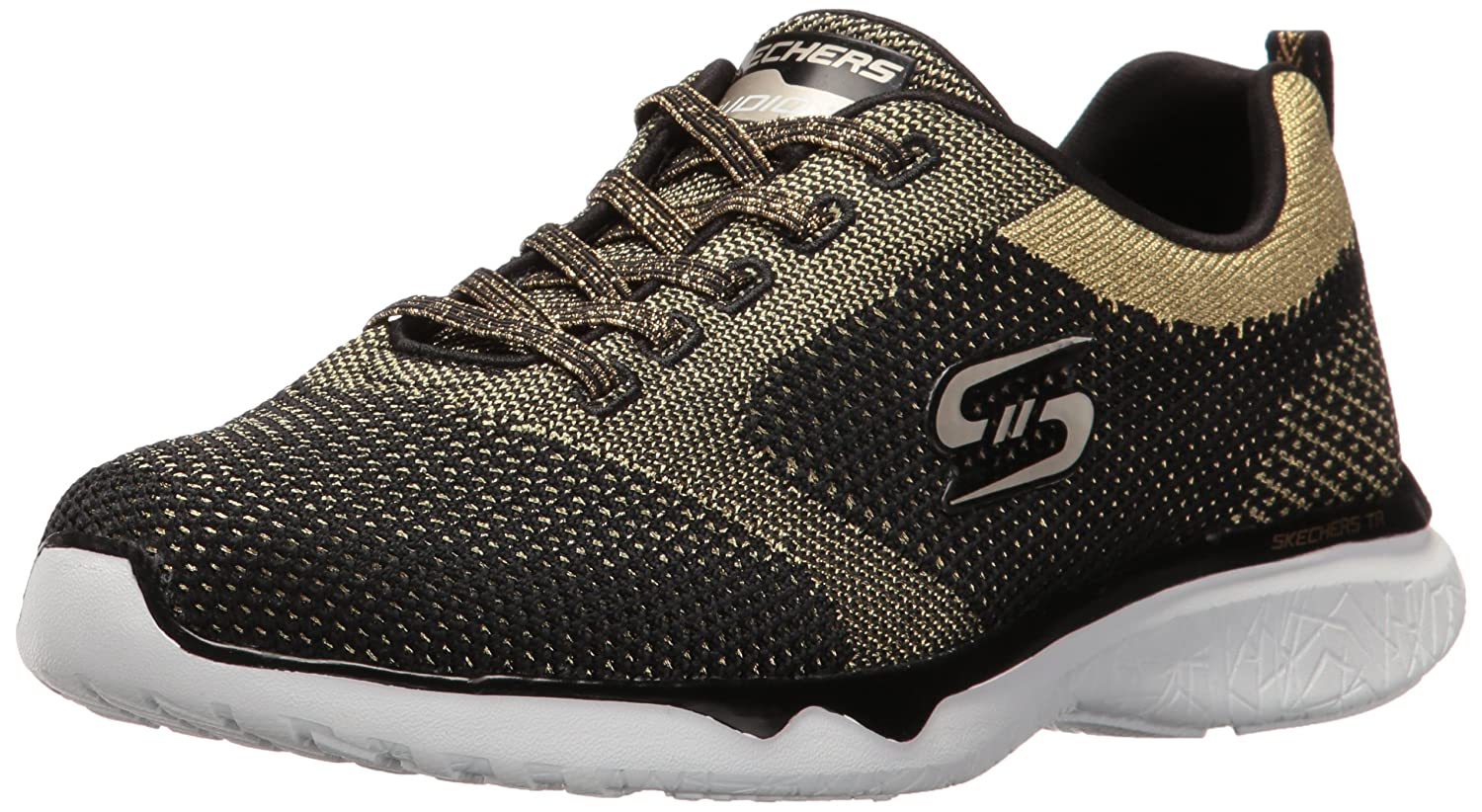 Skechers Sport Women's Studio Burst Virtual Reality Fashion Sneaker B01HRWFJKY 8 B(M) US|Black Gold