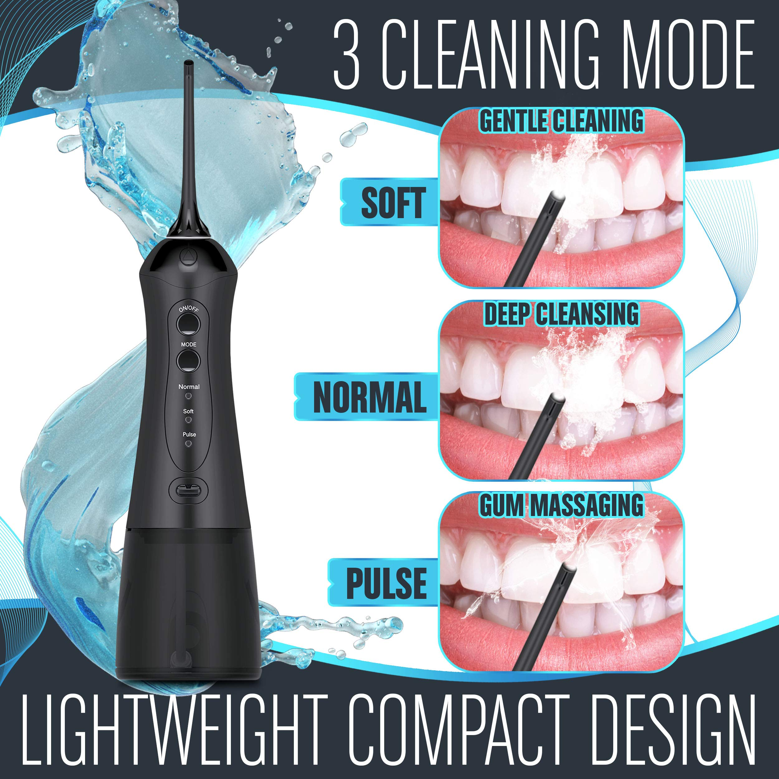 Cordless Water Flosser for Teeth - Smile Brighter with a Portable Waterflosser - Rechargeable Water Flosser/Oral Irrigator with 2 Heads, Travel Case and USB Charger by IDLTD (Image #2)