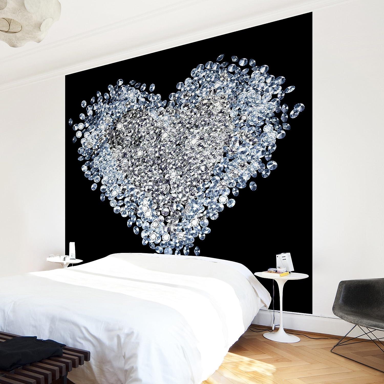 Apalis Vliestapete Diamant Herz Fototapete Quadrat   Vlies Tapete Wandtapete Wandbild Foto 3D Fototapete für Schlafzimmer Wohnzimmer Küche   Größe  192x192 cm, schwarz, 97583