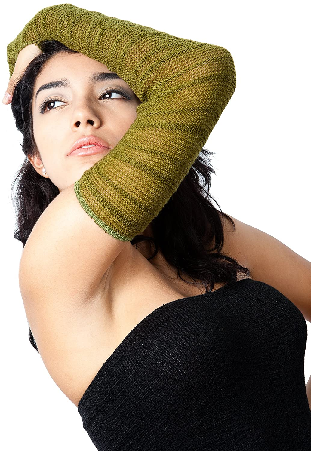 Shadow Stripe Stretch Knit Mesh Arm Warmers by KD dance New York, Unique, Fashionable & Fierce, Soft, Warm & Durable Made In USA