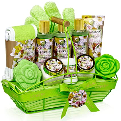img buy Bath and Body Gift Basket For Women & Men – Magnolia and Jasmine Home Spa Set, Includes Fragrant Lotions, Bath Bomb, Towel, Shower Gloves, Green Wired Bread Basket and More - 13 Piece Set