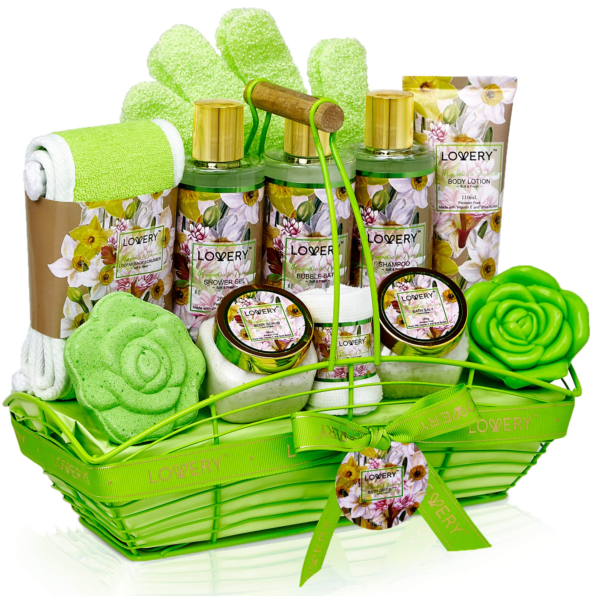 Bath and Body Gift Basket For Women & Men - Magnolia and Jasmine Home Spa Set, Includes Fragrant Lotions, Bath Bomb, Towel, Shower Gloves, Green Wired Bread Basket and More - 13 Piece Set