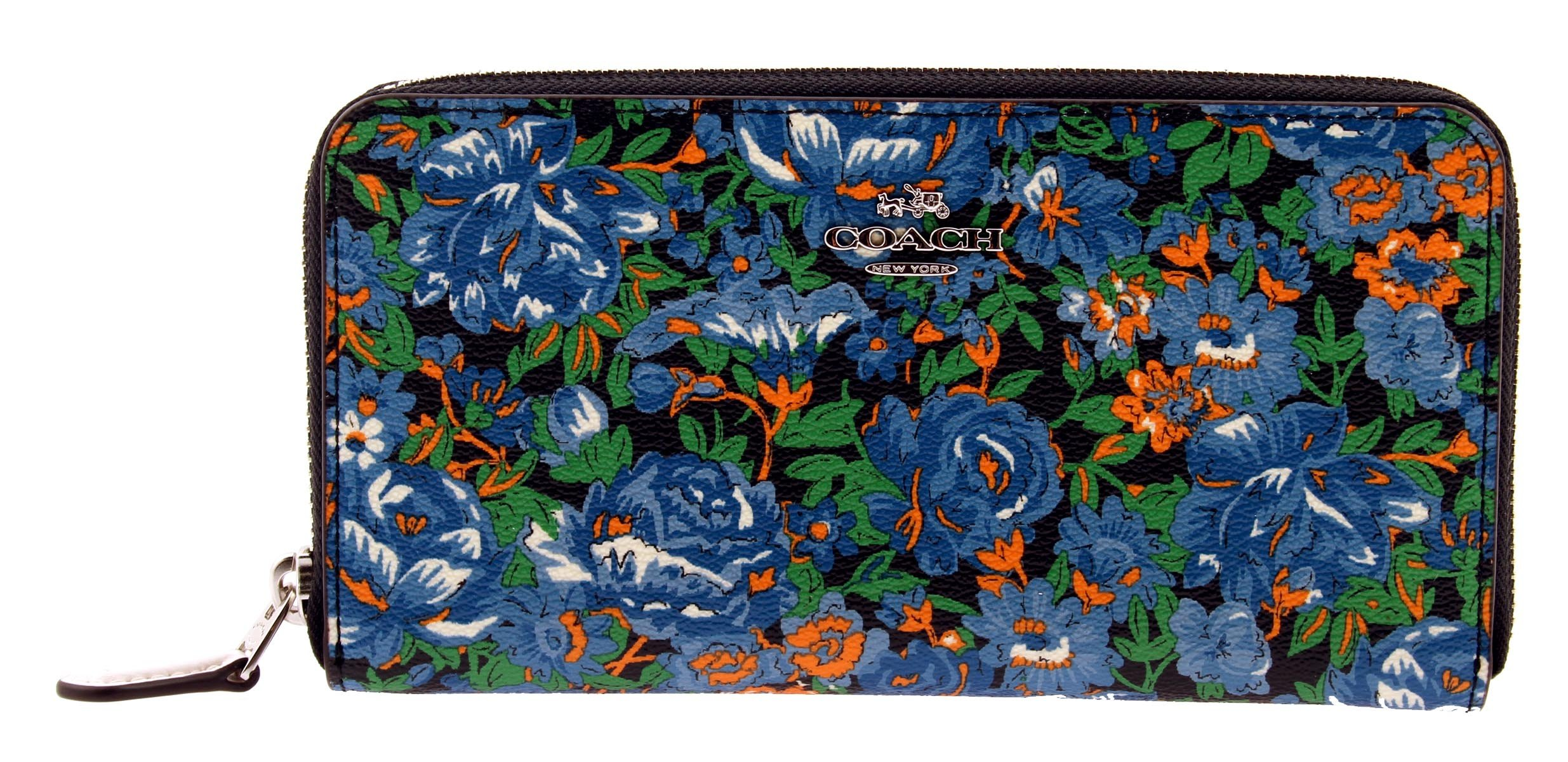 COACH Floral Printed Coated Canvas Zip Around Accordion Wallet (Blue Multi)