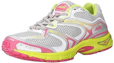 AVIA Women's Endeavor Running Shoe, Chrome Silver/White/Yellow Glow/Hot Pink