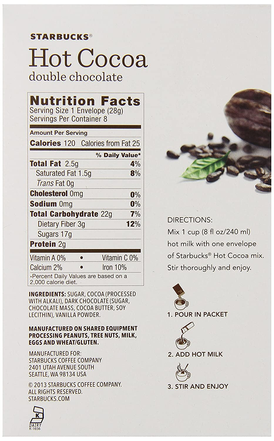 Amazon.com : Starbucks Hot Cocoa Mix, Double Chocolate, 8 Ounce ...