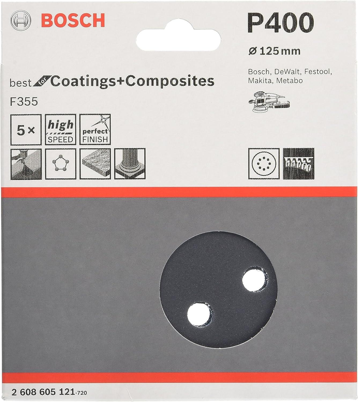Bosch 2608605122 Disque abrasif 5 pi/èces 125 mm Grain 600