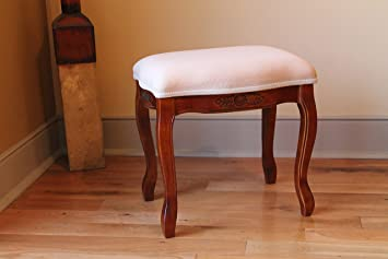 Hand Carved Wood Upholstered Vanity Stool : carved wood stool - islam-shia.org