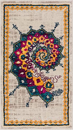 Calico Modern Abstract Floral Saree Bright Colors Vintage Modern 2×4 2'3″ x 3'11″ Area Rug Blue Fuschia Purple Yellow Beige Area Rug
