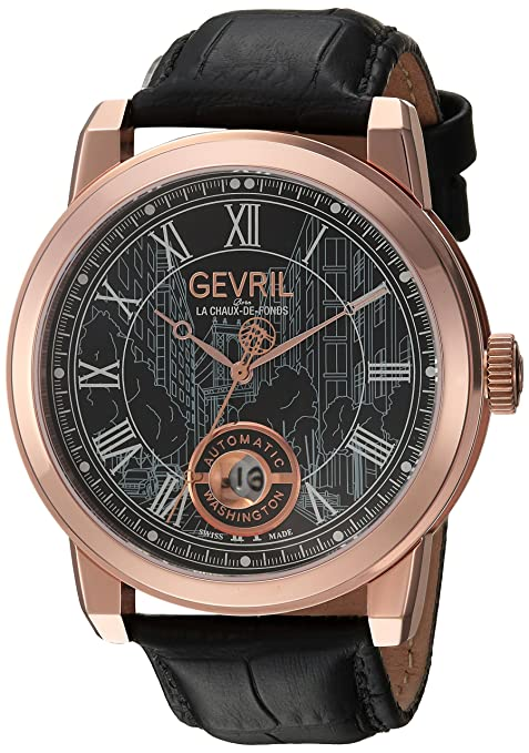 Gevril Men's Analog Swiss-Automatic Watch with Leather Calfskin Strap 2624L