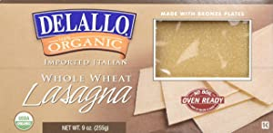 DeLallo Organic Whole Wheat Lasagna, Oven Ready, 9-Ounce Boxes (Pack of 6)