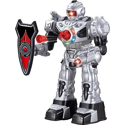 ThinkGizmos Robot programable Grande con Mando a Distancia - Robot de Juguete con Control Remoto - Robots para niños Que disparan misiles Hablan andan y Bailan niños - Plateado: Juguetes y juegos