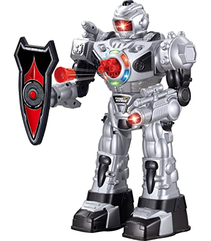 Think Gizmos Large Remote Control Robot for Kids - Superb Fun Toy RC Robot - Remote Control Toy Shoots Missiles, Walks, Talks & Dances (10 Functions) (Silver)