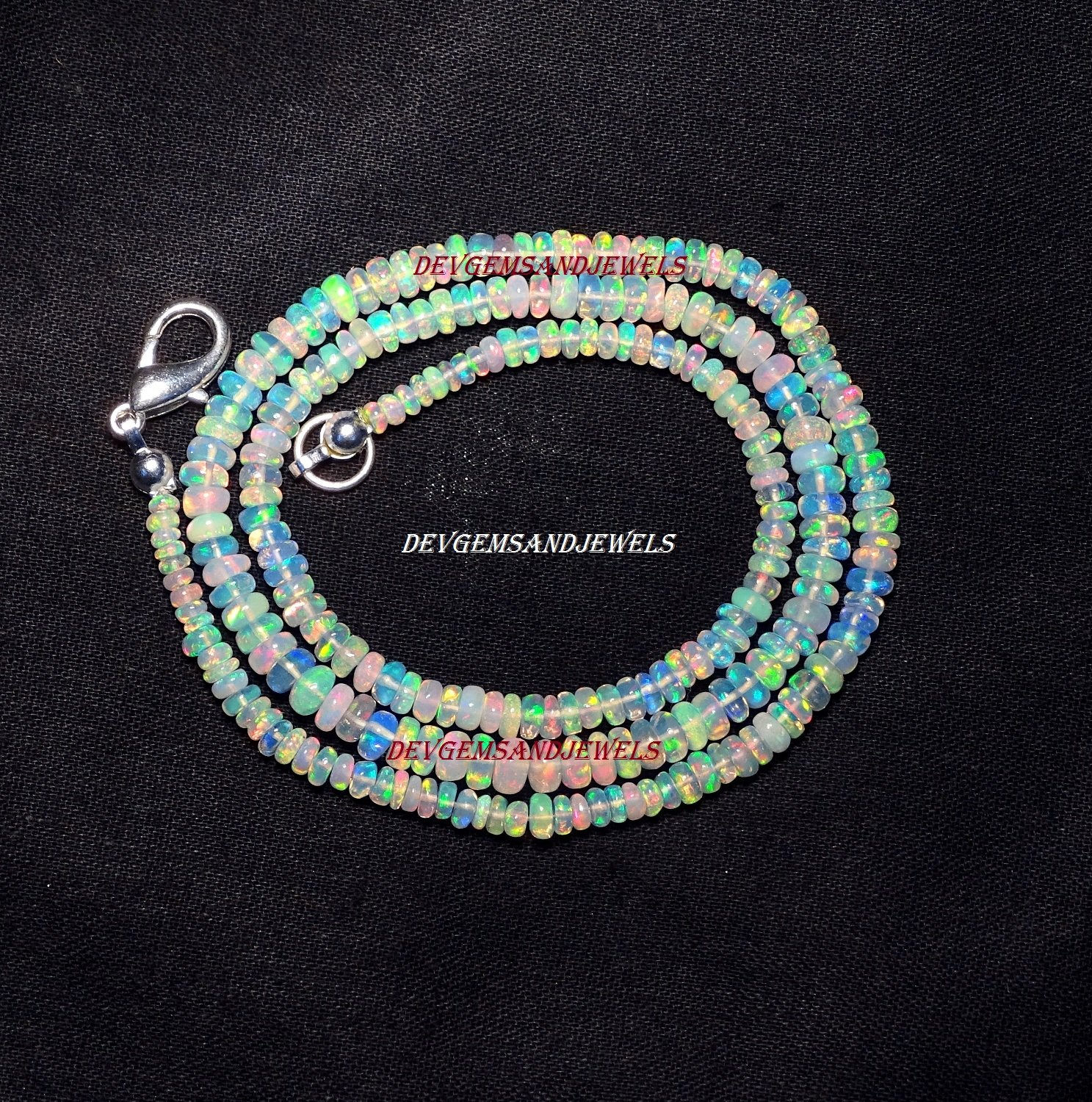 Natural Ethiopian Welo Fire Opal Necklace Rare Smooth Rondelle Beads 16 Inch Necklace Fine Quality.