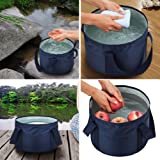Outdoor Compact Collapsible Bucket Camping Water Container with Oxford cloth Portable Folding for Hiking Travelling Fishing Washing and Boating 17L/4.5 gal