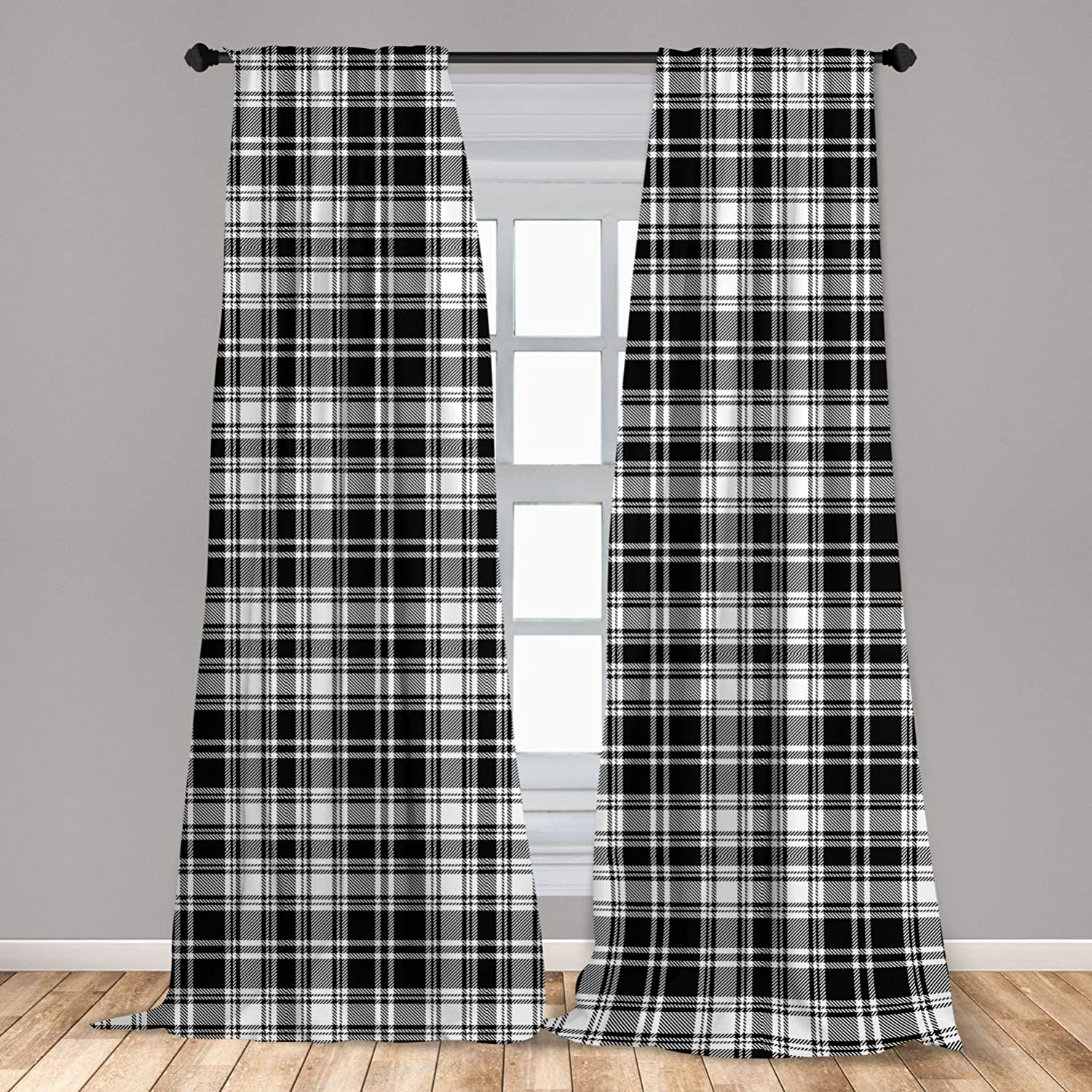 Ambesonne Abstract Curtains 2 Panel Set, British Tartan Celtic Pattern with Vertical Horizontal Symmetric Stripes Image, Lightweight Window Treatment Living Room Bedroom Decor, 56