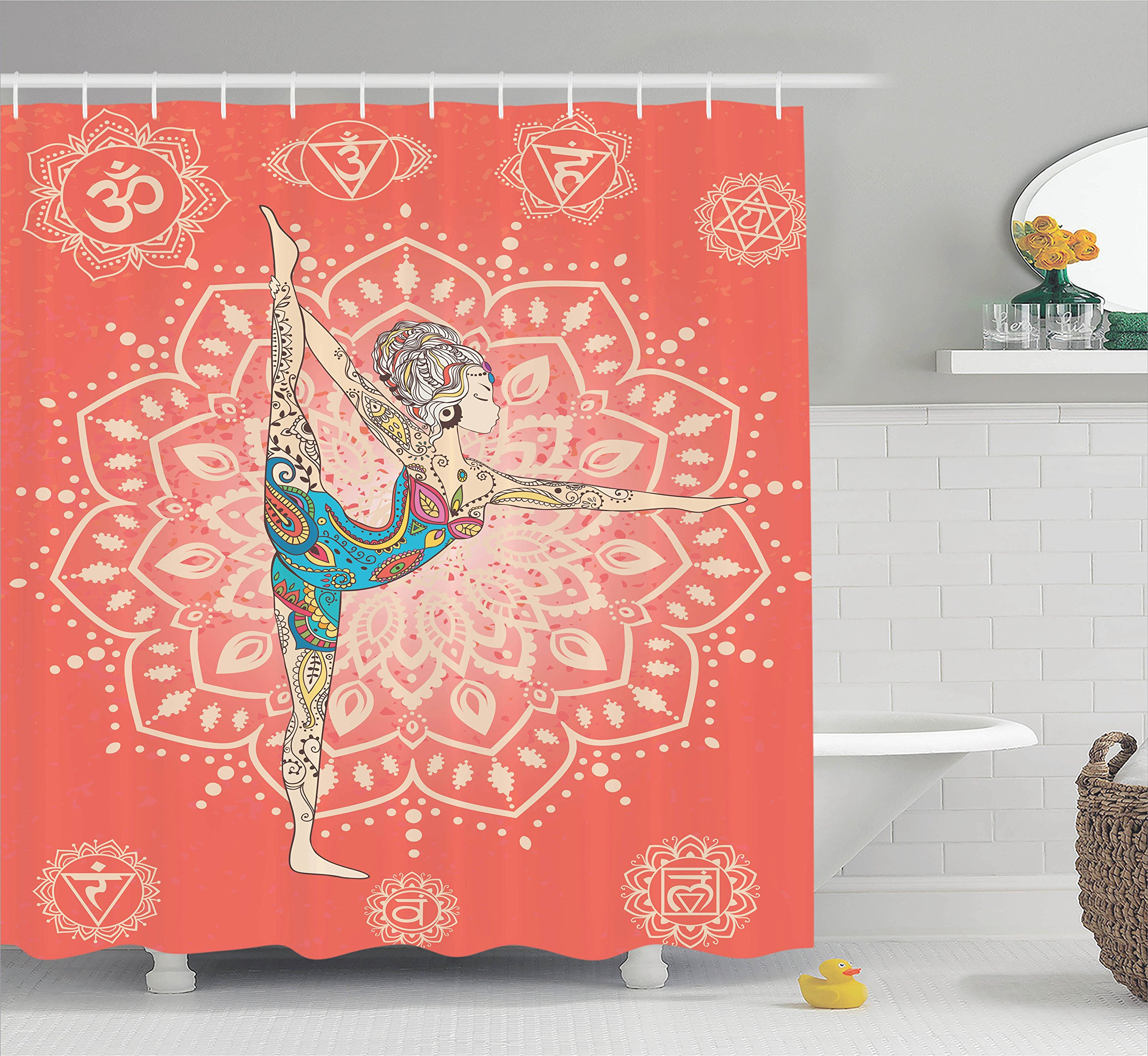 Ambesonne Yoga Decor Collection, Yoga Geometric Element Ornament Background Kaleidoscope Medallion Yoga India Picture, Polyester Fabric Bathroom Shower Curtain, 75 Inches Long, Coral Blue Pink