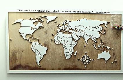 Idee Regalo Per Colleghi Ufficio : Mappa mondo in legno da parete decir regalo personalizzata