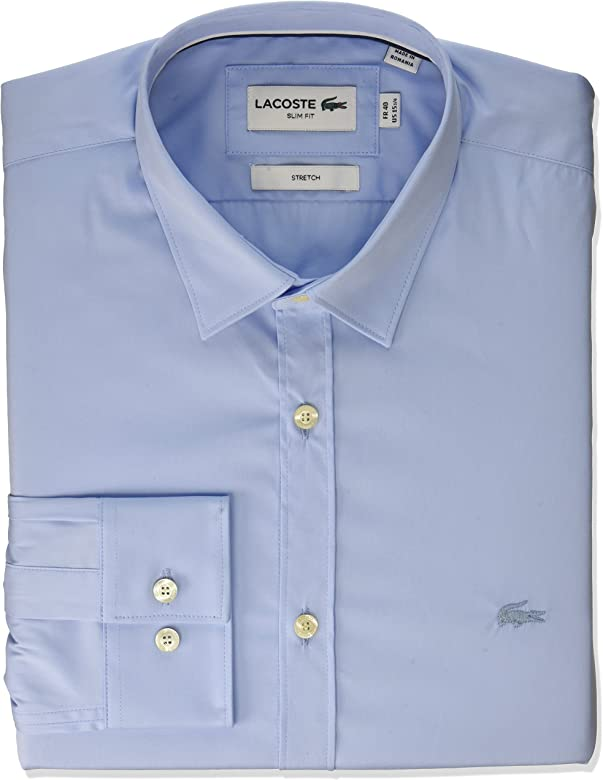 6e1eaf9c6e Lacoste Men's Slim Fit Stretch Cotton Poplin Shirt