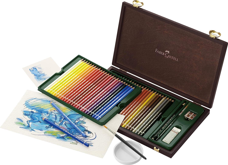 Faber-Castell 117506 - Estuche de madera con 48 ecolápices acuarelables y accesorios, multicolor: Amazon.es: Oficina y papelería