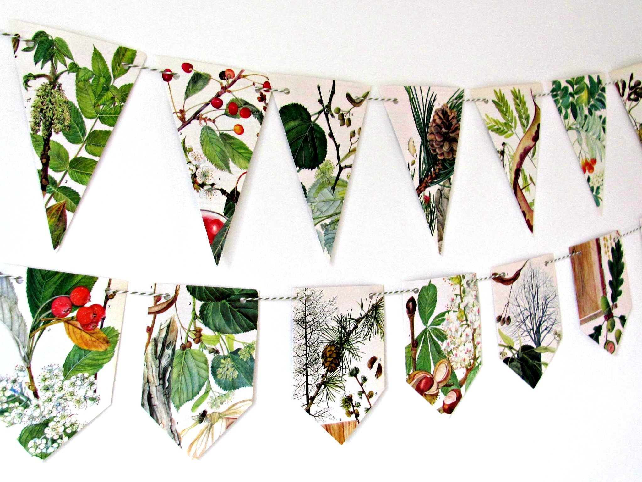 European and British trees bunting garland