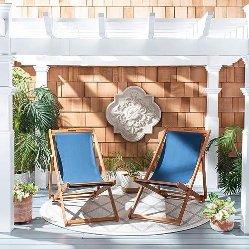 Safavieh PAT7040D-SET2 Outdoor Loren Brown Set of 2 Sling Chair, Natural Navy