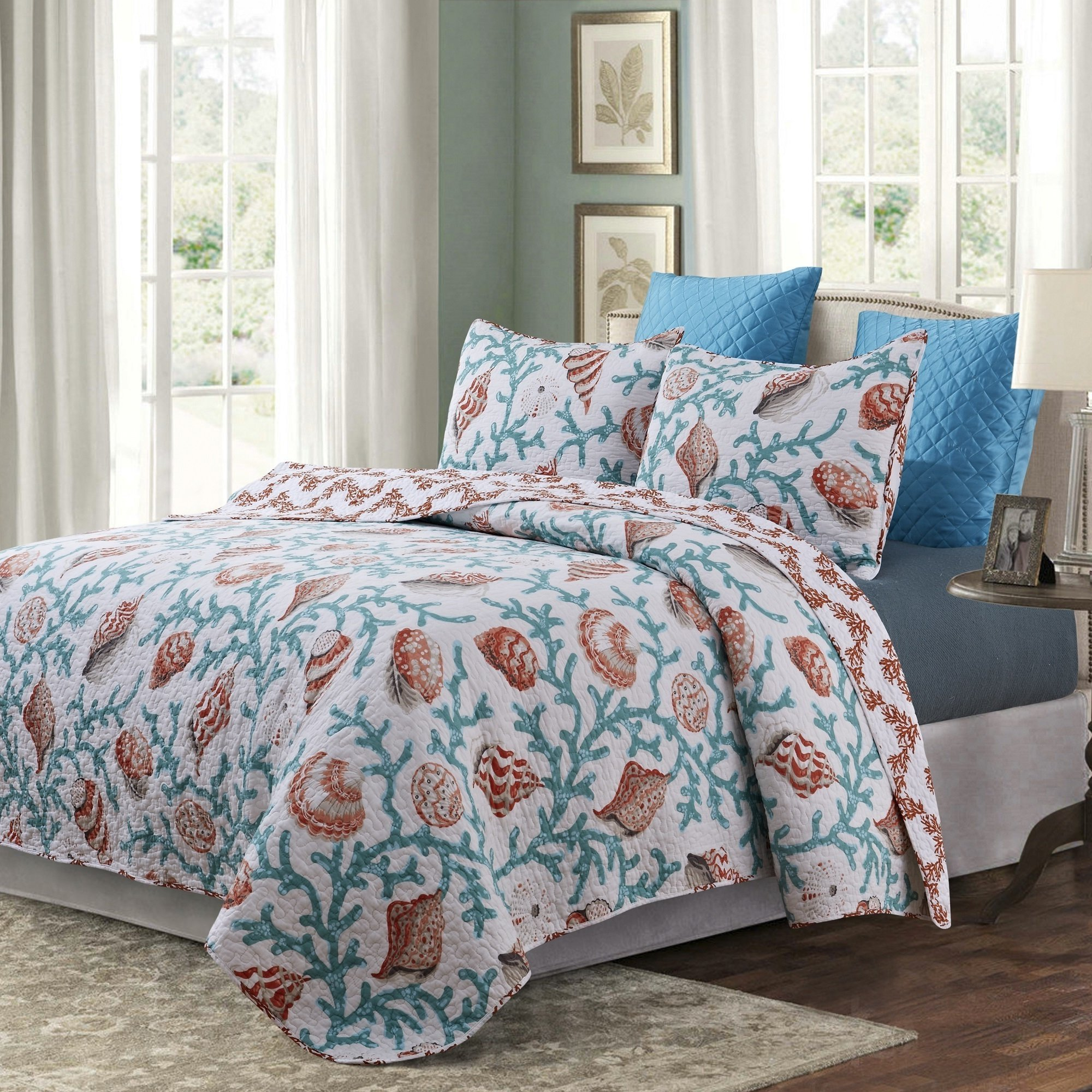 3 Piece Whimsical Underwater Creatures Theme Reversible Quilt Set Full/Queen Size, Coastal Sea Shells Corals Reefs Bedding, Modern Nautical Lovers Pattern, Beach Shoreline Animals Design, Teal, Coral