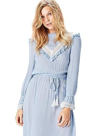 Marca Amazon - find. Blusa de Cuadros Vichy con Hombros al Aire para Mujer