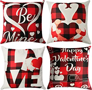 Tifeson Valentine's Day Pillow Covers 18x18 inch - Gnome Buffalo Plaid Throw Pillow Cases - Set of 4 Linen Square Cushion Decorative Throw Pillow Covers for Valentines Day Sofa Home Decor