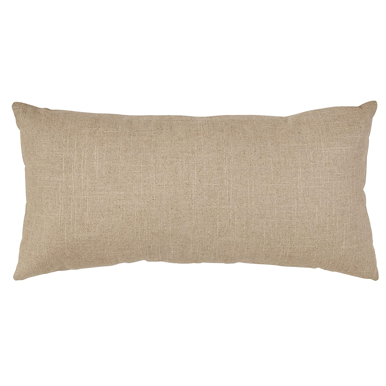 Stone Beam Industrial Leather Detail Throw Pillow – 24 x 12 Inch, Flax with Dark Brown