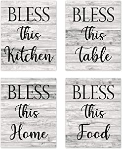 """Rustic Vintage Farmhouse Country Boho Wood Grain Inspirational Quotes Sayings Wall Art Room Bar Decor Bless This Kitchen Home Modern Signs Pictures Posters Prints Decorations Unframed 8""""x10"""" Set of 4"""
