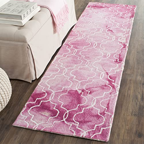 Safavieh Dip Dye Collection DDY676N Handmade Geometric Watercolor Rose and Ivory Wool Runner 2 3 x 6