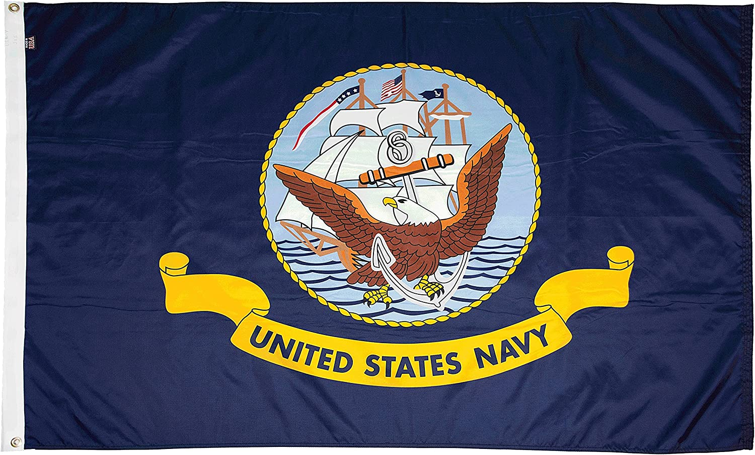 FlagSource U.S. Navy Nylon Military Flag, Made in The USA, 3x5'