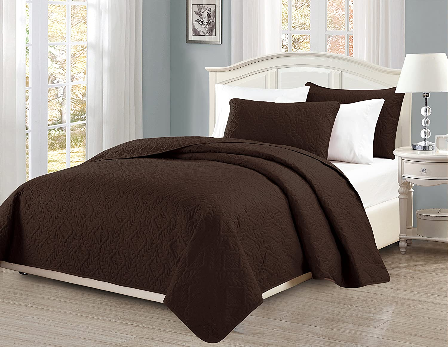 3 pc Diamond Bedspread Bed-cover Embossed solid Brown/Choclate New Size:Full/Queen Color:Brown/Choclate
