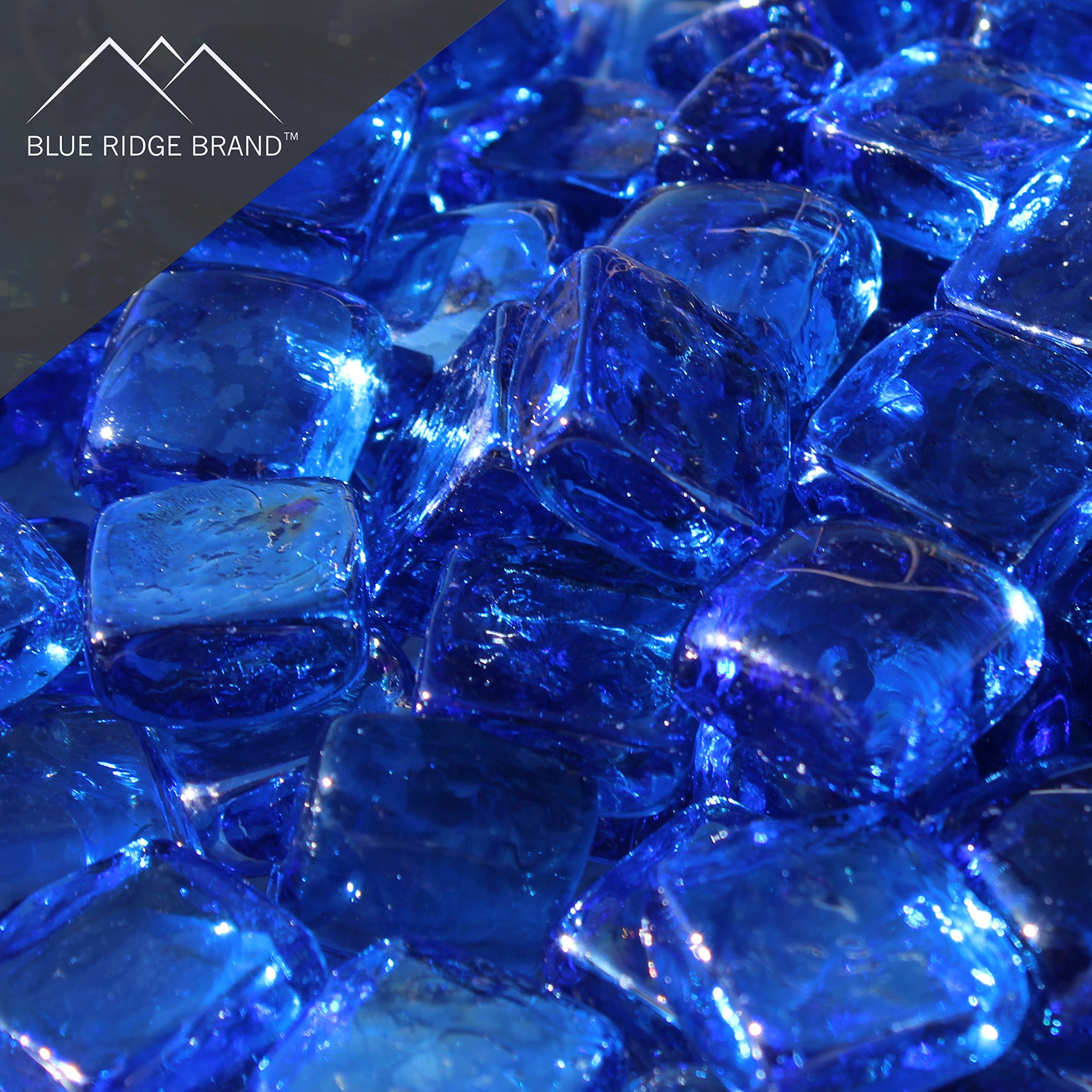 Blue Ridge Brand™ Light Blue Reflective Fire Glass Cubes - 50-Pound Professional Grade Fire Pit Glass - 3/4'' Reflective Fire Glass Bulk Pack - Glass Rock Contractor Pack