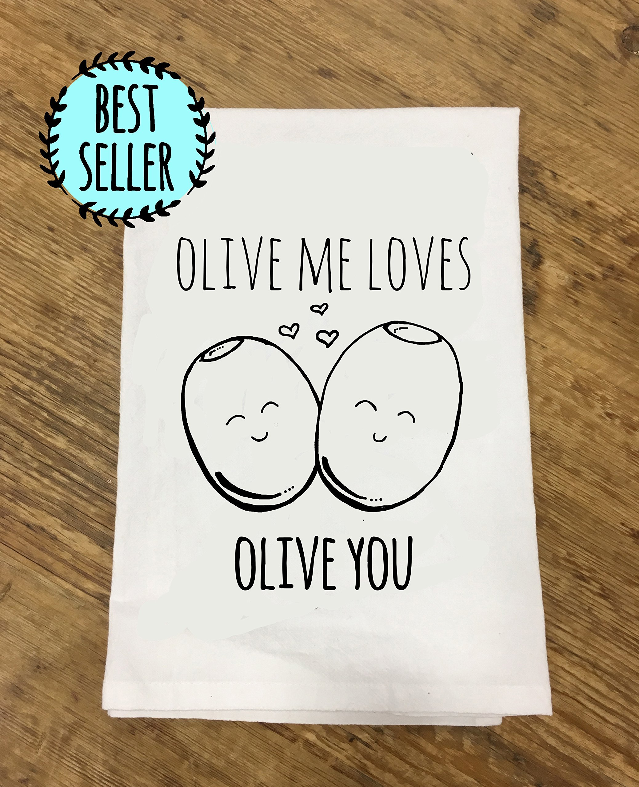 Olive Me Loves Olive You ~ Funny Kitchen Cloth ~ Funny Dish Towel