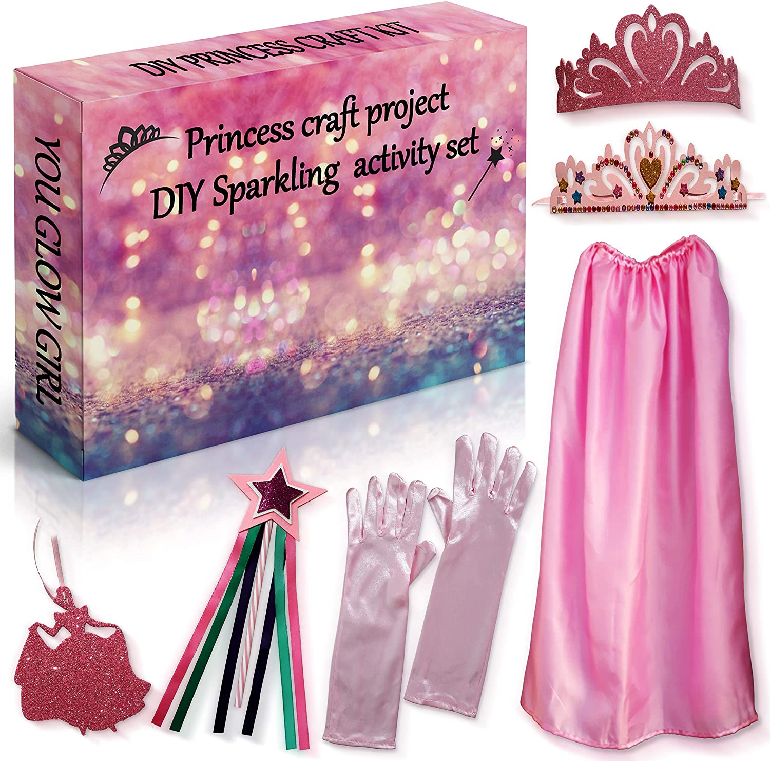 Wand Princess Toys Pretend Play Gifts for Girls Arts and Crafts for Girls Necklace and Gloves DIY Princess Dress Up Set 2Pepers Make Your Own Princess Craft Kit Kids Crafts Project- Cape Tiara
