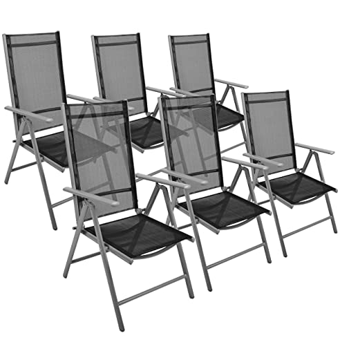 6er Set Klappstuhl Gartenstuhl Campingstuhl Liegestuhl U2013 Sitzmöbel Garten  Terrasse Balkon U2013 Klappbarer Stuhl Aus Aluminium